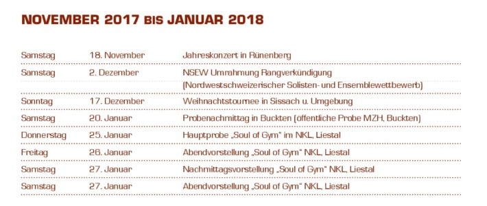 Programm der Futureband (November 2017 bis Januar 2018)